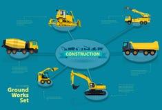 Grafiskt isometriskt orienteringskonstruktionsmaskineri Tungt maskineri för samling för konstruktion royaltyfri illustrationer
