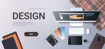 Grafiskt märkes- idérikt skrivbord för sikt för bästa vinkel för begrepp för studio för arbetsplatsdesign med digital minnestavla royaltyfri illustrationer