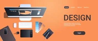 Grafiskt märkes- idérikt skrivbord för sikt för bästa vinkel för begrepp för studio för arbetsplatsdesign med digital minnestavla stock illustrationer
