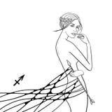 Grafiskt monokromt illustrationzodiaktecken Royaltyfri Fotografi