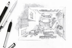 Grafiskt skissa av en inre vardagsrum med pennan och blyertspennor arkivbilder
