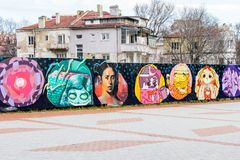 Grafit för Varna Bulgarien gatakonst royaltyfri bild