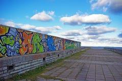 Grafiti di Colorfull su una parete in Estonia Fotografia Stock