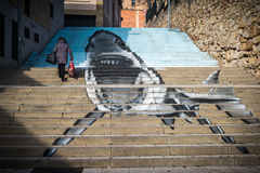 Grafiti. Graphite of shark in a stairs publishes Royalty Free Stock Images