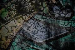 Grafiti sbiadito sulla parete incrinata del cemento Fotografia Stock