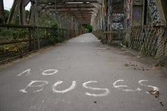 Grafiti stating: no buses Stock Image