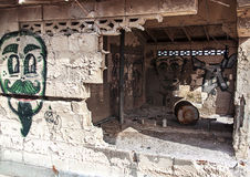 Graffiti on abandoned building stock images
