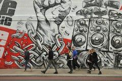 Grafitti arbetar på gatorna av London, England Royaltyfria Foton