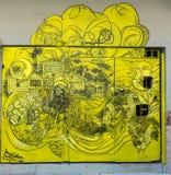 Grafitti av den lantliga tropiska trädgården Royaltyfria Foton