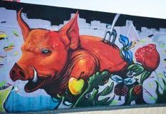 Grafitti av det grillade svinet Fotografering för Bildbyråer