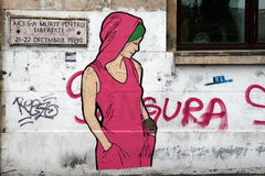 Grafitti av en flicka Royaltyfri Fotografi