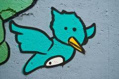 Grafitti av fågeln Royaltyfri Bild