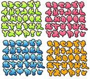 Grafitti bubblar stilsorter med glans, lutning och översikten stock illustrationer