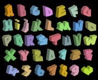 grafitti 3D färgar stilsorter alfabet och nummer över svart Arkivbild