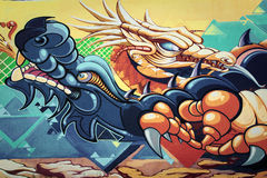 Grafitti - dragons. Beautiful grafitti - two dragons on the wall Royalty Free Stock Photography