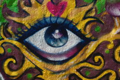 Grafitti Eye. An eye painted as grafitti on a wall Royalty Free Stock Image
