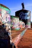 Grafitti för Asheville flodkonster Arkivbild
