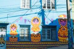 Grafitti för Matryoshka dockagata Arkivfoto