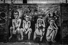 grafitti Gator av Lisbon Royaltyfria Bilder