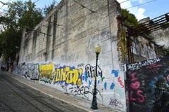 Grafitti i Lissabon Arkivfoto