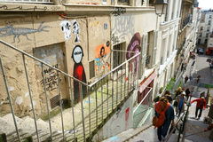 Grafitti i Montmartre, Paris Royaltyfria Bilder
