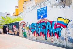 Grafitti i Santa Marta, karibisk stad som är nordlig Arkivbild