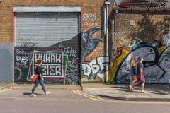 Grafitti i vagnshästfilten London, England, royaltyfri fotografi