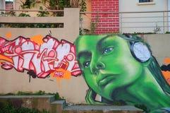Grafitti i Valparaiso Arkivfoton
