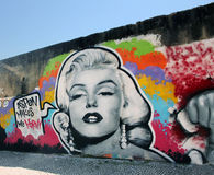 grafitti marilyn monroe royaltyfria foton
