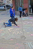 Grafitti nära den Boylston gatan i Boston, USA, Arkivbild