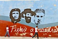 Grafitti- och väggmålningar som föreställer de kubanska nationella hjältarna, i havannacigarr arkivfoto