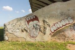 Grafitti på den Parque Deportivo José Martà stadionhavannacigarren Royaltyfri Foto