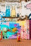 Grafitti på den stads- väggen i Macao Royaltyfri Foto