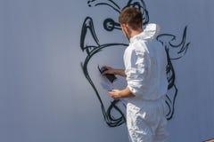 Grafitti på den vita väggen Royaltyfri Fotografi