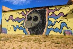 Grafitti på en övergiven byggnad Royaltyfri Foto