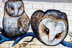 Grafitti på en konkurrens på verkliga Puerto, Spanien Arkivbild