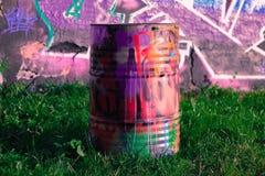 Grafitti på en metalltrumma Royaltyfria Bilder
