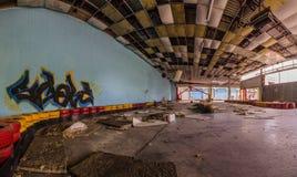 grafitti på gammal kartbahnpanorama Royaltyfria Bilder