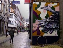 Grafitti på gatorna av Liege Royaltyfri Fotografi