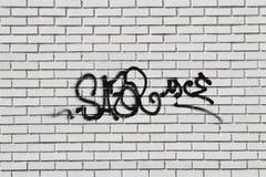 Grafitti på grungeväggen royaltyfri foto