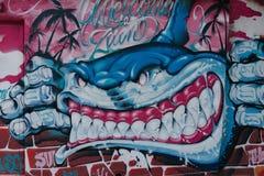 Grafitti på Hong Kong Street Royaltyfri Fotografi
