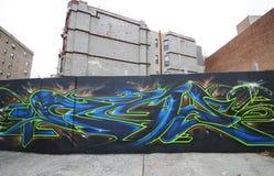 Grafitti på utsikthöjdgrannskapen i Brooklyn Arkivfoto