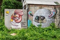 Grafitti på väggarna av Chiang Mai City Arkivfoto