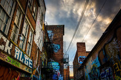 Grafitti på väggarna av tegelstenbyggnad i grafittigränden, Balti royaltyfri foto