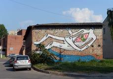 Grafitti på väggen av en byggnad i Vitebsk Royaltyfri Bild