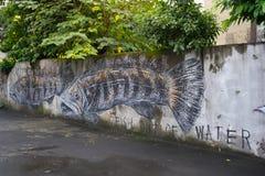 Grafitti på väggen i idérika Huashan parkerar Arkivfoto