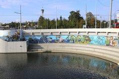 Grafitti på väggen i Kazan Arkivfoton