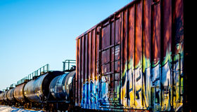 Grafitti. This train was zooming by and I was lucky to get a good shot Royalty Free Stock Photography