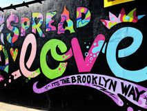 Grafitti Wall. Colorful graffiti street art painting on a wall in Brooklyn New York royalty free stock images