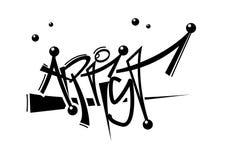 Grafitti word artist. Silhouette of grafitti word artist with bubble decoration Stock Photos